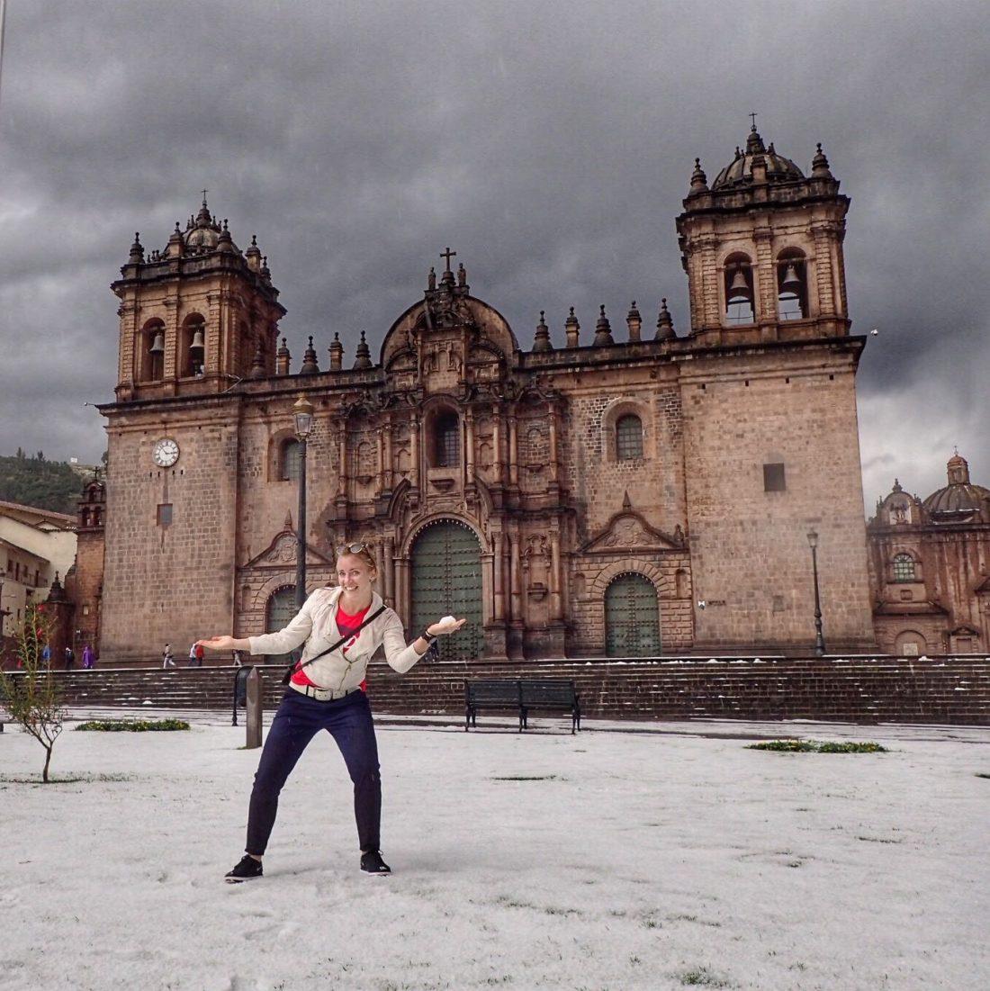 hagelbuitje in Cusco - warm welkom zeg maar..